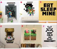 Wholesale 2015 MINECRAFT Wall Sticker Style minecraft Removable Vinyl Art Decal Kids home decor creative cartoon wall sticker Retail