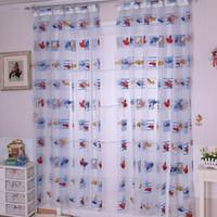 Wholesale 1Pcs Cartoon Car Print Door Room Window Divider Curtain Kids Bedroom Funny Voile Screen Panel Drape Decoration