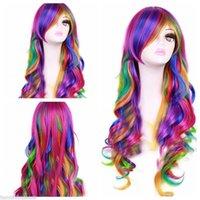 Wholesale Fashion Women Rainbow Long Curly Wavy Hair Full Cosplay Lolita Party Wig