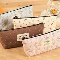 Wholesale Fresh Countryside Rural Style Floral Pencil Pen Case Cosmetic Cellphone Bag New WJ008