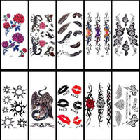 Wholesale New Novelty Sexy Product Temporary Tattoo Flash Tatoo Rose Flower Feather Lip Waterproof Body Art Tattoo Stickers