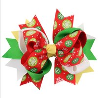 baby ga - 12 Types available Christmas Bowknot Hair Bow Chevron Boutique Hair Clip Holiday Red and Green Bow Newborn Baby Girl X mas Accessories GA