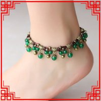 aqua chalcedony - 4 COLORS Original Design chalcedony anklets chains women ethnic ankelets handmade braided agate vintage bohemian foot chains