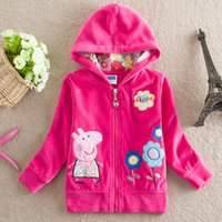 Wholesale 2015 New Hot Red Spring Autumn Outwear Girl Child Coat Jacket Outwear Cloth Flower Hooded Baby Child Clothing EMS DHL