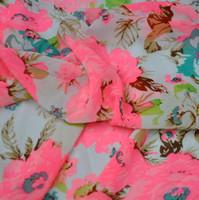 Wholesale Fluorescent color flower print chiffon fabric chiffon fabric clothing Chinese clothing phosphor fluorescent orange