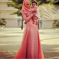 dubai - Abaya Dubai Kaftan Muslim Arabic Evening Dresses With Hijab Long Sleeves Lace Chiffon Maxi Plus Size Formal Evening Gowns