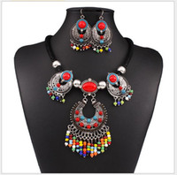 american indian nations - Europe fashion exaggerate vintage nation wind millet beads tassels Cz diamond necklace jewelry set
