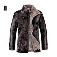 fur collar coat men - WoolBlends Winter Male Fur Stand Collar Thickening And Wool Windbreak Waterproof Lether Jackets Leather Coat Men s Leather Jacket