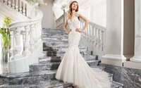 Cheap 2015 Lace sheer straps Wedding Dresses cap sleeve illusion backless Bridal Gowns applique Court Train Vestidos De Noiva Demetrios C209