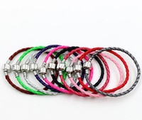 Wholesale new Colors New Single silver Leather Bracelets Chains cm cm cm Fit European Charm Beads