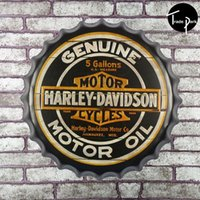 gallon cap - 40cm Round GENUINE MOTORCYCLES MOTOR OIL GALLONS beer bottle cap Metal sign bar poster D style