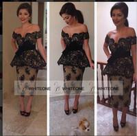 Wholesale Sexy Dubai Arabic Black Lace Applique Off shoulder Mermaid Evening Dresses Lace Cocktail Dresses Short Party Dresses