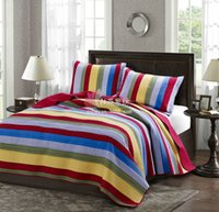 Wholesale Summer Bedspreads Countryside Stripes Print Bedspreads Bed Cover Stitch Quilt Cotton Summer Queen Bed
