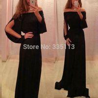 Wholesale New Sexy Fashion Ladies Chiffon Off Shoulder Split Boho Long Maxi Evening Party Dress Plus Size S XL Modern Style