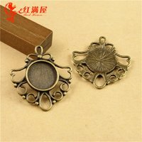 Wholesale 29 MM Fit MM Antique Bronze Retro bottom bracket parts Handmade jewelry round metal stamping blank earring making