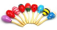 Wholesale New Hot Wooden Maraca Wood Rattles Kid Musical Party Favor Child Baby Shaker Toy High Quality TY144