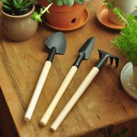 Wholesale 3pcs Mini Garden Plant Tool Set With Wooden Handle Gardening Tool Shovel Rake hot search