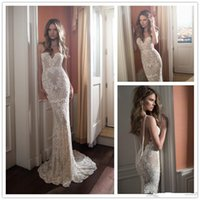 Cheap Berta Lace Appliqued Backless Wedding Dresses Mermaid 2015 With Sweetheart Neckline Sweep Train Pearls Bridal Gown