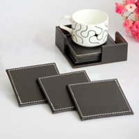 leather coaster - Factory Price Kitchen Dining Bar Coasters Coffee Leather Insulation Pad Coffee Tea Mat Brown Coasters For Ikea For Starbucks S69080