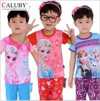 Wholesale AAA quality color size frozen elsa anna kids girls boy autumn summer Leisure pajamas pure cotton sleepwear Nightgown topB1379 sets