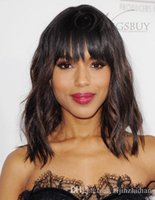 Cheap Two-Tone Look Fluffy Kerry Washington Hairstyle Medium Loose Wavy Wig 100% Real Human Hair About 12 Inches
