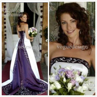 Reference Images purple and white wedding dress - Hot White and Purple Wedding Dresses Pao Embroidery Vestido de Custom made A Line Strapless Lace up Back Chapel Train Bridal Gowns