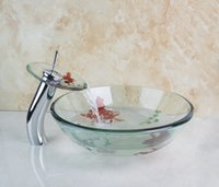 Wholesale 4010 Newly Art Round Victory Clear Glass Bathroom Washbasin Sinks Glass Sink With Faucet Set