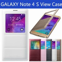 Wholesale Official Design Galaxy Note S View Case Flip PU Leather Battery Cover Open Window NO IC Chip With Logo Without Logo Retail Package DHL