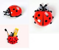 Cheap New Arrive 4 colors Cute Ladybug Cartoon Sucker Toothbrush Holder suction hooks Household Items toothbrush rack bathroom set