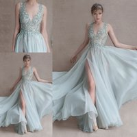 Wholesale Sexy See Through Paolo Sebastian Prom Dresses with Sheer Crew Neck Backless Side Split Lace Applique Chiffon Evening Party Formal Gowns