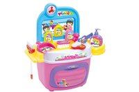 Wholesale child simulate cleaning set pretend play toy kid role pretent kits DIY puzzle toy