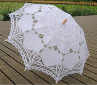 Wholesale 2016 New Wedding Umbrella Cotton Embroidery colors Wooden handle Lace Parasol Bridal Umbrella Wedding Umbrella Decorations lace parasol