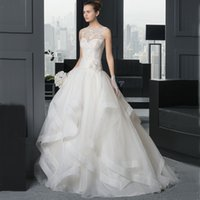 Wholesale 2015 Newest Designer Wedding Dresses A Line Sheer Bateau Sleeveless Lace Tulle Covered Edge Ruffles Bridal Gowns Custom Made