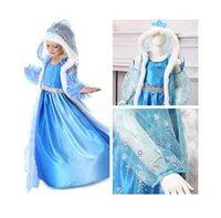 Wholesale Retail Hot Frozen Fairy Tail Dress Elsa Anna hooded Snowman Dress For Girl Fantasia Dress Halloween Princess Cosplay Clothing