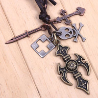 anchor cutouts - fashion genuine leather vintage Punk pendant cross skull alloy decoration cutout anchor jewelry cowhide male