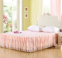 Cheap Wholesale Pale Peach 3 Tiers Ruffled Lace Bed Skirt Bedspread Cotton Polyester Blend Fabric shabby chic Bedding King Queen Size