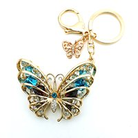 Wholesale High Quality Hot Fashion Keyrings Plating Gold Piercing Crystal Butterfly Animals Lobster Clasp Metal Keychains Bag Jewelry