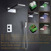 Wholesale 230 mm led showers with embeded boxes rainfall waterfall thermostatic shower set