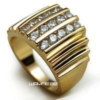 Wholesale R117 SZ9 k Gold Filled Lab Diamond Wide Band Men Engagement Wedding ring