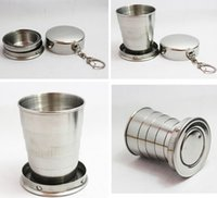 Wholesale Stainless Steel Retractable Keychain - Folding Cup Retractable Wine Glass Stainless Steel Wineglass with Keychain Large Medium Small