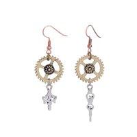 antique earings - Long Dangle Chandelier Earrings Antique Bronze Hoops With Gears Charms Earings For Women New Steampunk Vintage Fashion Jewelry STPKE1