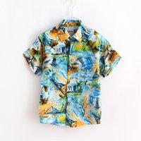 Wholesale summer new fashion new boys cotton silk shirt