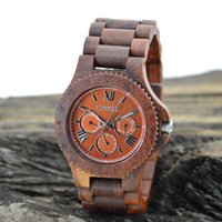 brand name jewelry - Classic man wooden clock hands gear dial vine charm red sandalwood mens wrist watch name brand week calendar wood watches Roman style