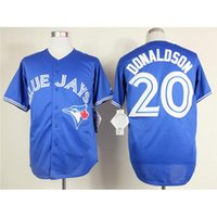 baseball kits - Blue Jays Donaldson Blue Jerseys New Cool Base Authentic Stitched Baseball Jerseys for Men High Quality Cheap Outdoor Jersey Kits