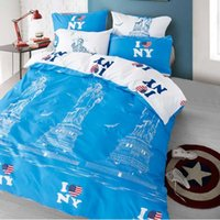 beds ny - Morpheus Romantic Blue Color Twin Full Queen King Size Comforter Set Bedding Set High Quality NY City Duvet Cover