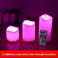 achat en gros de couleur verte conduit bougie-LED Bougie 3PCS / SET Télécommande LED bougie 12 couleur différente couleur haute qualité bougie rouge bleu jaune vert 12 couleur change