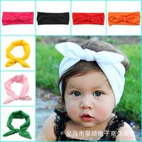 baby black bunnies - New Cotton blend Baby Headwrap girl hair Bunny Ears headband Bow Strechy Knot Headband Fashion Hairband