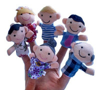 Wholesale Baby Plush Toy Finger Puppets Set Family Teaching Talking Props Animal Games Doll Cute Kids Appease Play Cartoon Learn Story Dolls