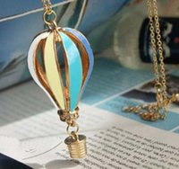 cheap price jewelry - Cheap Price Colorful Jewelry Aureate Drip Hot Air Balloon Pendant Long Necklace for Women Valentine gift