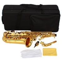 Wholesale Stylish Mid range Alto Drop E Lacquered Golden Saxophone Painted Golden Tube with Carve Patterns